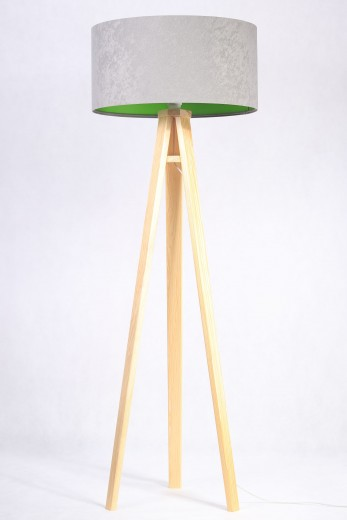 Stehlampe JERRY Grau Grün Retro Dreibein 145cm Wohnzimmer