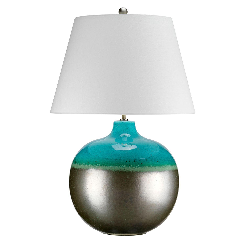 Porzellan Tischleuchte LARA Türkis H:71cm Lampe