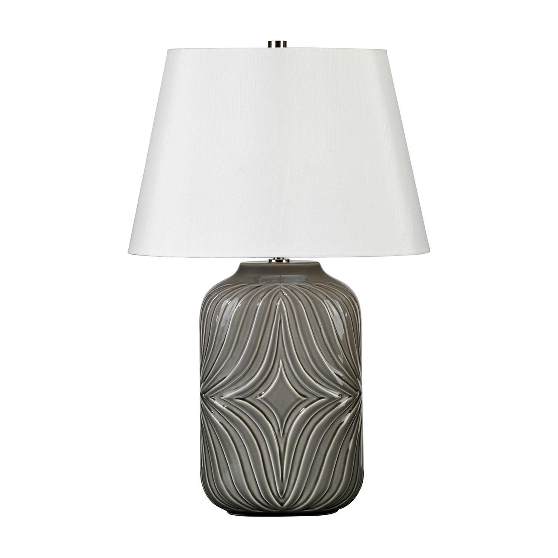 Tischlampe ALEXIS Grau Porzellan H:56cm Leuchte