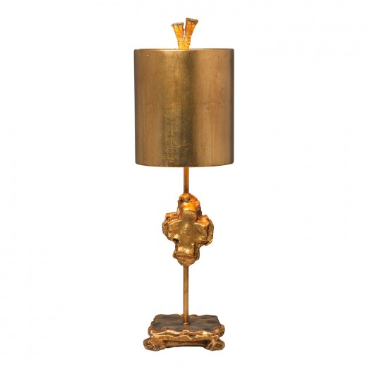 Tischlampe Blattgold Stoff 58cm dekorativ FINO