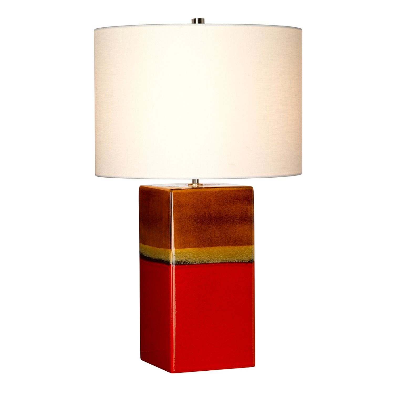 Tischleuchte Rot Creme 60cm Keramik Modern stilvoll