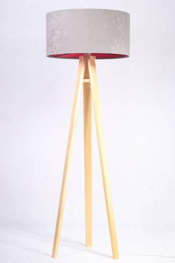 Stehlampe Dreibein Holzleuchte Grau Pink Retro 145cm