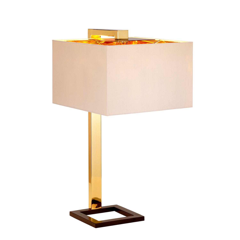 Tischlampe TIAGO in Gold Braun Creme H:62cm Lampe