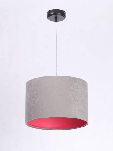 Pendelleuchte Esstisch Grau Pink Stoff rund Retro