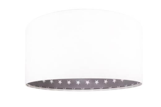 Kinderzimmerlampe Weiß Grau Retro rund Stoff
