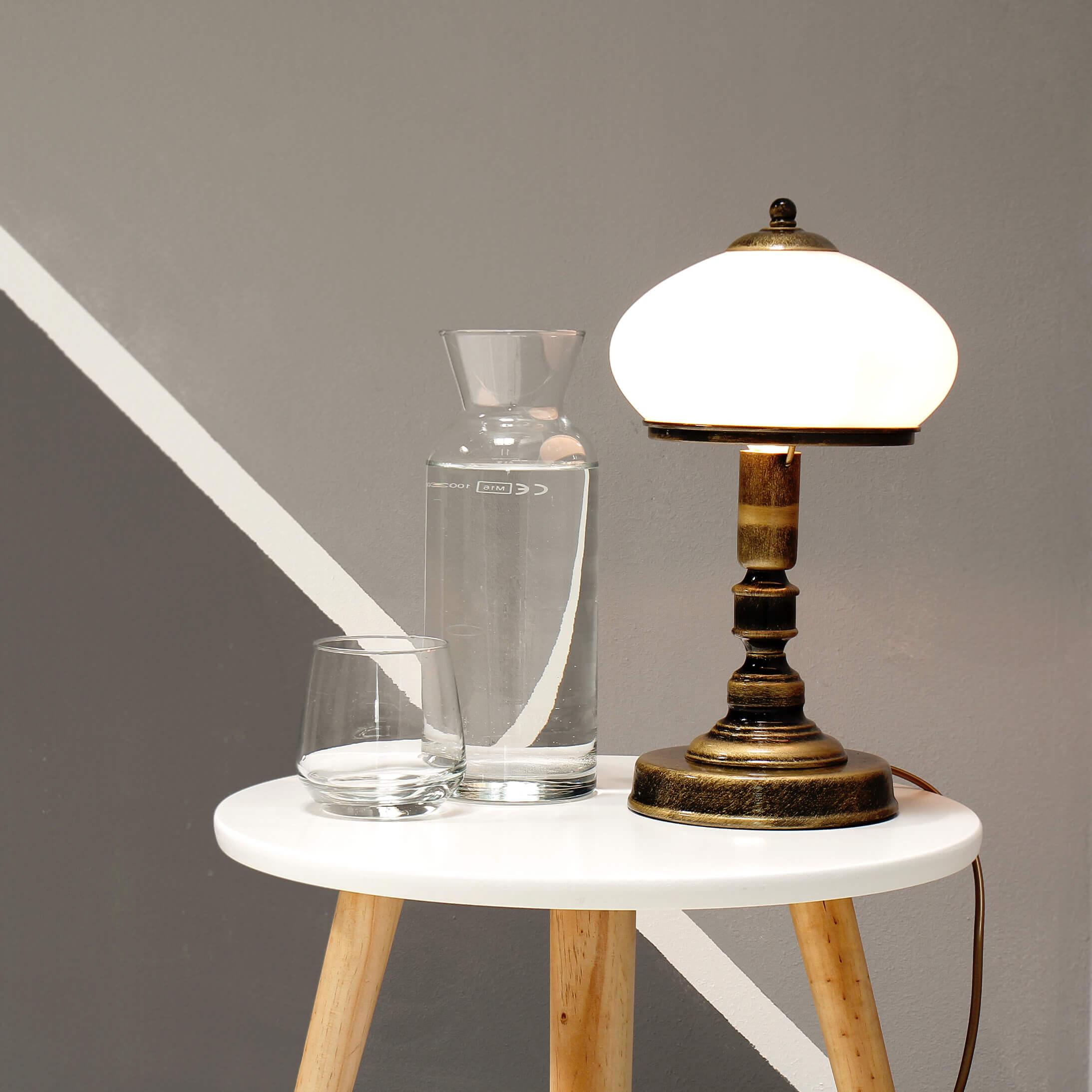 Tischlampe Weiß Messing Tischleuchte Glasschirm