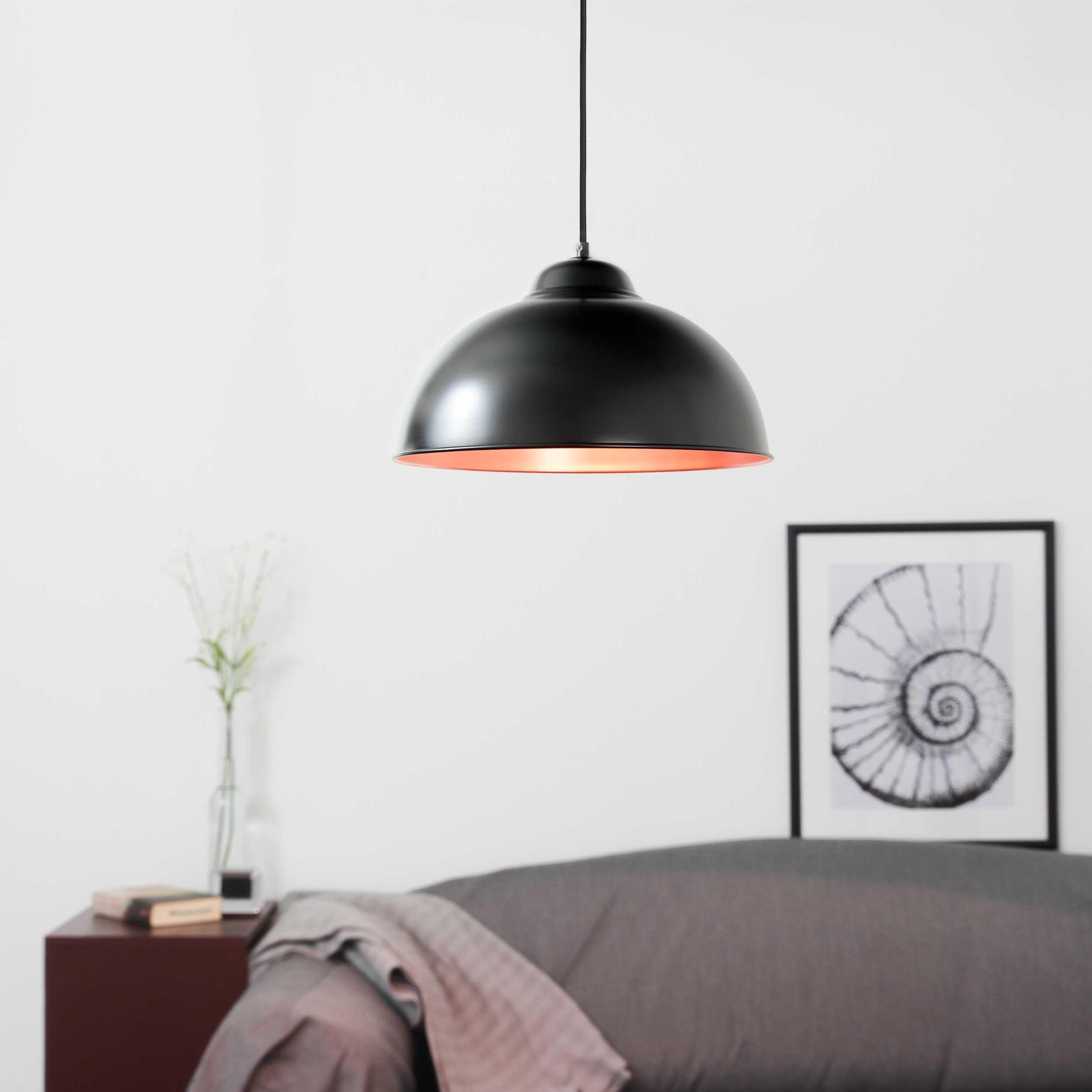 Stilvolle Pendelleuchte Schwarz Kupfer Ø37cm TRURO