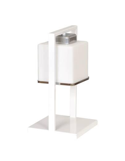 Tischlampe Bauhaus Weiß Metall Glas 32cm eckig E27