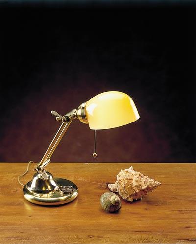 Kleine Schreibtischlampe Glas Messing Jugendstil