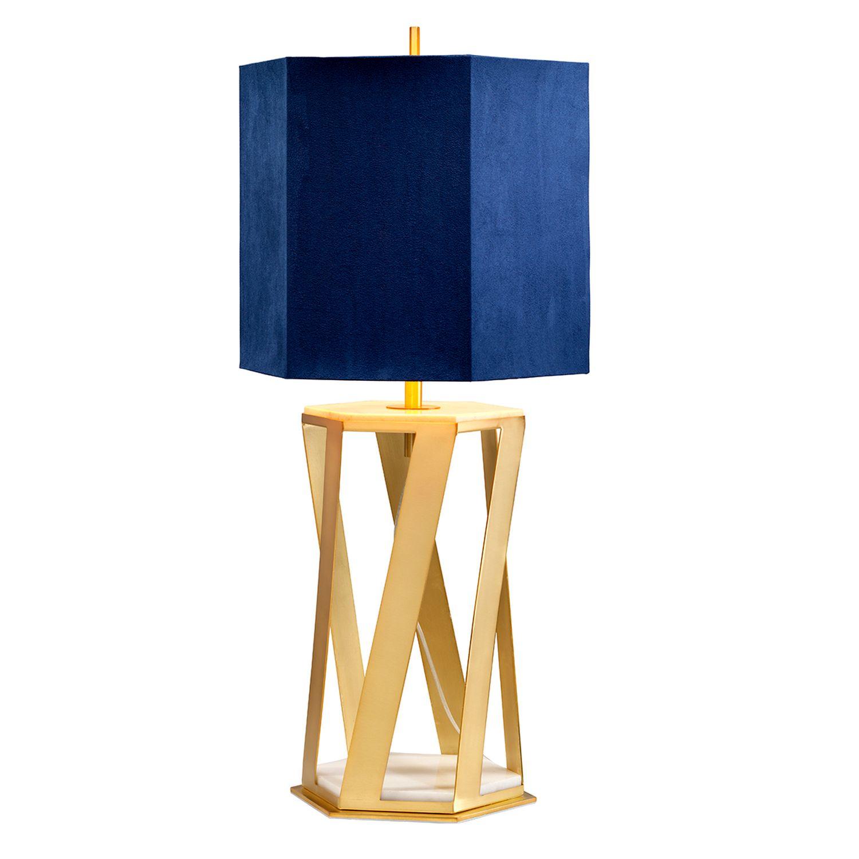 Tischlampe Design Gold Blau Marmor Fuß 87cm hoch