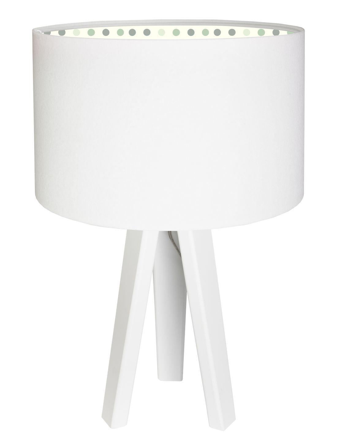 Tischleuchte Dreibein Weiß Grün Holz 46cm Kinder Lampe