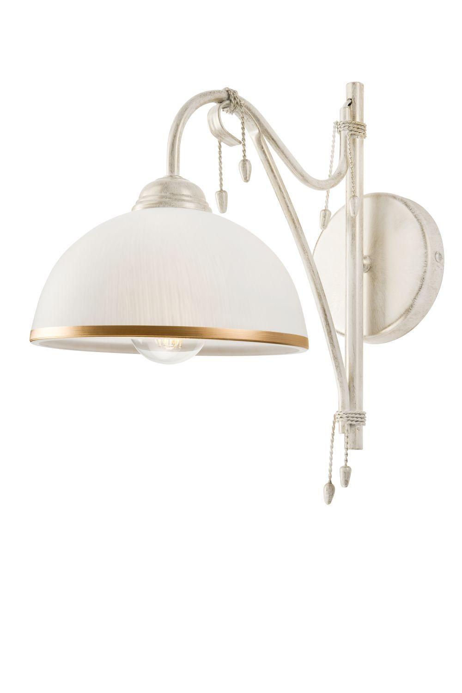 Shabby weiße Wandlampe Metall Jugendstil TERRINA