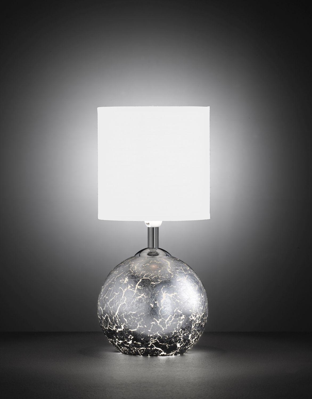 Lichtdurchlässige Tischleuchte in Silber Optik