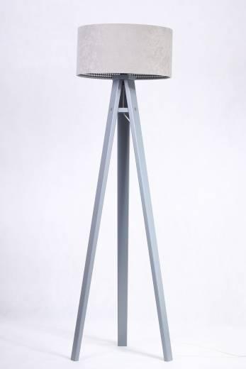 Stehlampe Grau Retro Dreibein 140cm Wohnzimmer