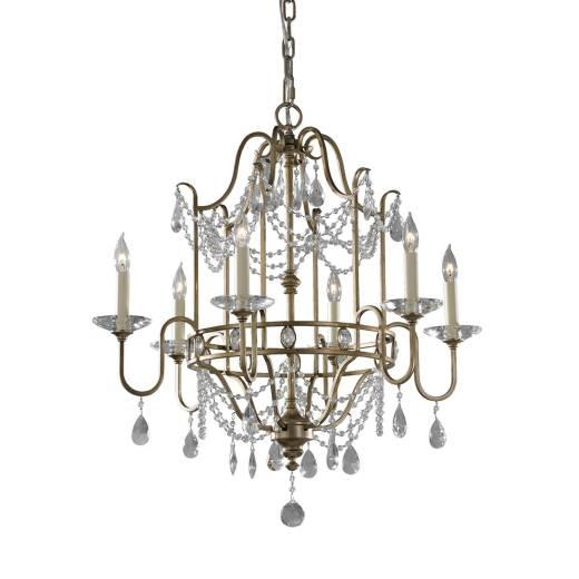 Kronleuchter CANDELA 7 Silber 6xE14 kürzbar Lampe