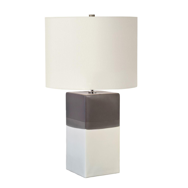 Tischlampe Keramik 60cm hoch Creme Grau Nachttisch