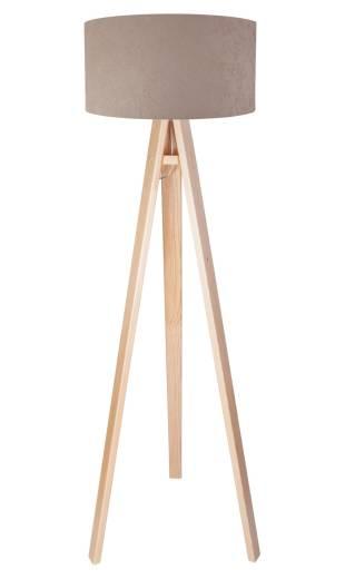 Beige Stehlampe Holz Dreibein 140cm Retro Wohnzimmer