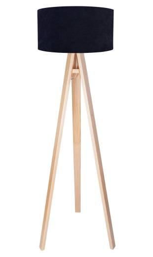 Stehlampe Blau Weiß Retro Dreibein 140cm Holz Lampe