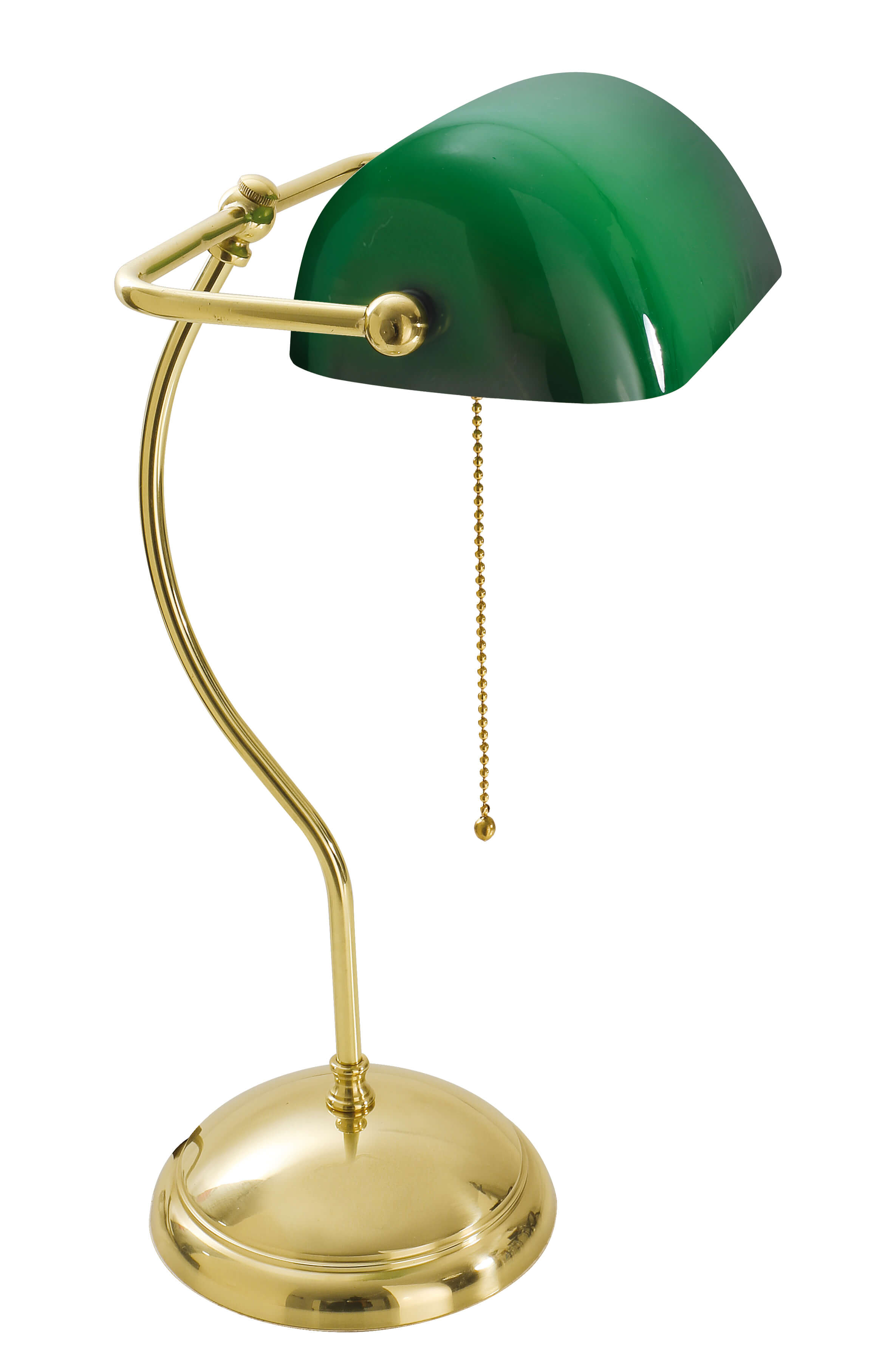 Bankerlampe Echt-Messing Poliert Premium