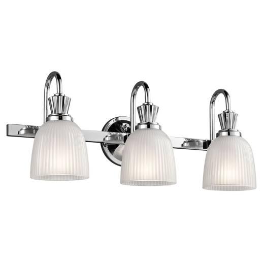 Badezimmer Wandlampe LED in Chrom Weiß IP44 Riffelglas