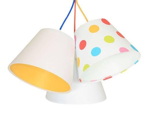 Kinderzimmerlampe Weiß Orange gepunktet Stoff
