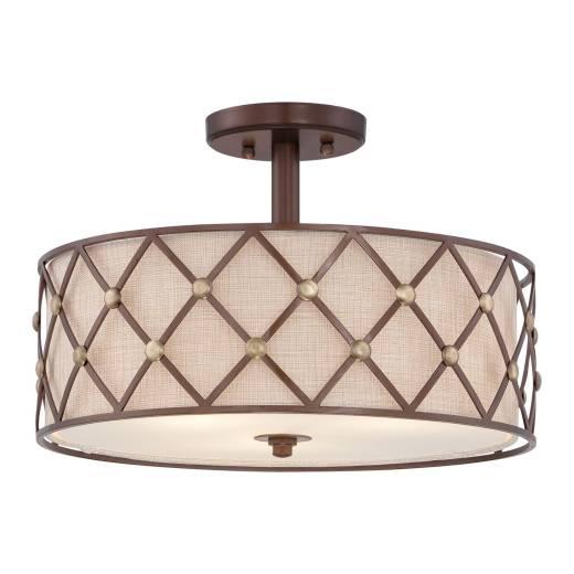 Runde Deckenlampe in Kupfer Creme Esstisch Wohnzimmer