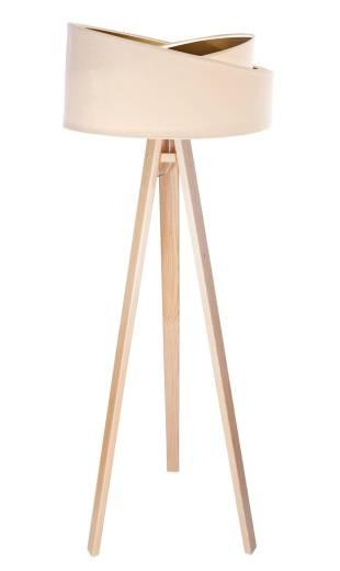 Stehlampe Wohnzimmer Creme Gold Holz Dreibein 145cm