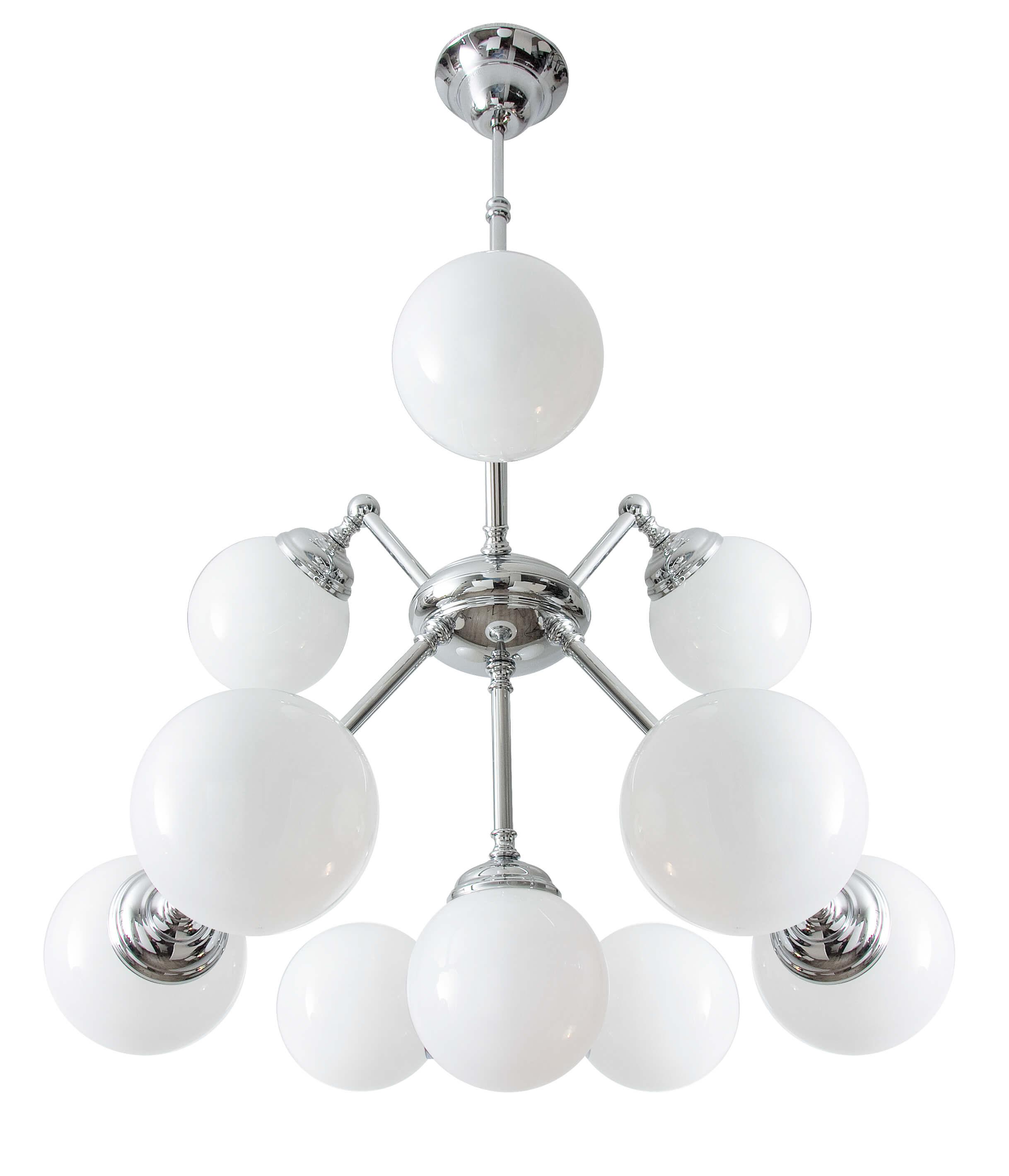 Art Déco Deckenlampe 10-flmg Glas Echt-Messing