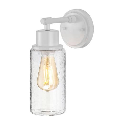 Industrial Badezimmerleuchte IP44 Weiß Glas Schirm