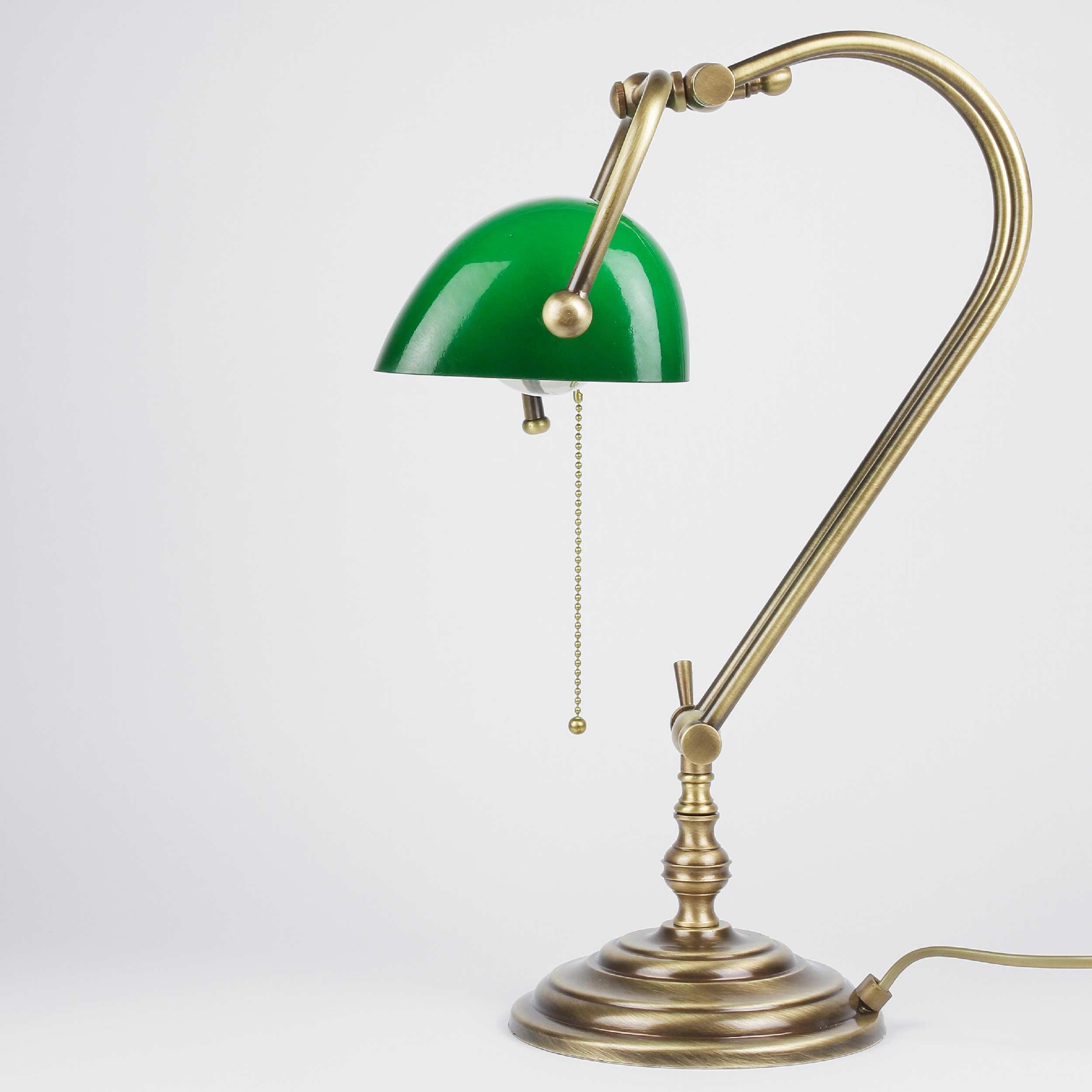 Banker Tischlampe aus Echt-Messing in Bronze