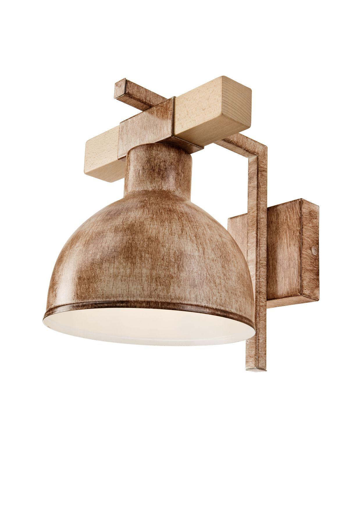 Wandlampe TANIYA Shabby Braun Holz Vintage Lampe