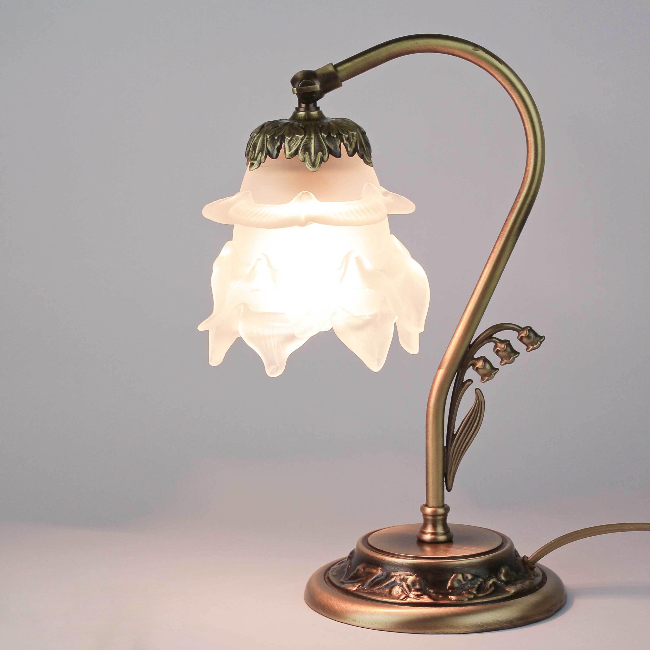Tischlampe Glasschirm Weiß Echt-Messing Floral