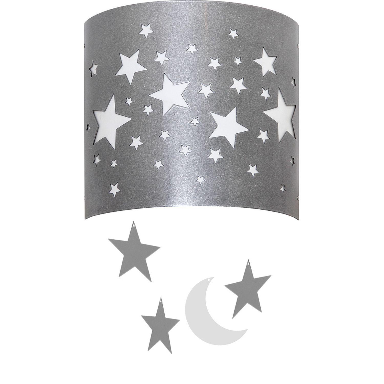 Graue Kinderlampe ARDA Sterne Wand E14 niedlich