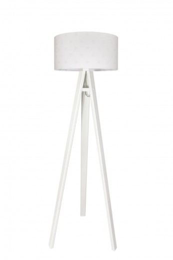 Stehlampe Weiß gepunktet Retro 140cm Wohnzimmer