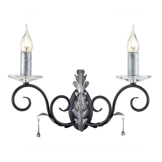 Prunkvolle Wandlampe Schwarz Silber floral mit Kristall