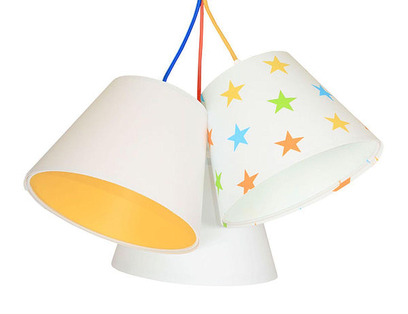 Kinderlampe Hängelampe Weiß Orange Sterne Stoff