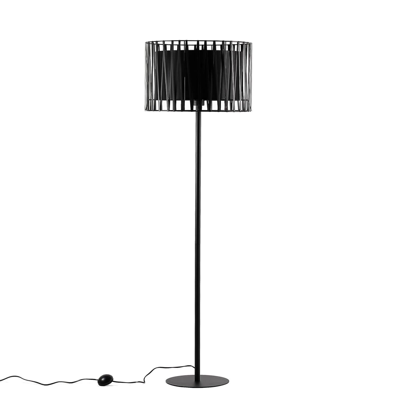 Moderne Stehlampe Schwarz Metall rund 145 cm