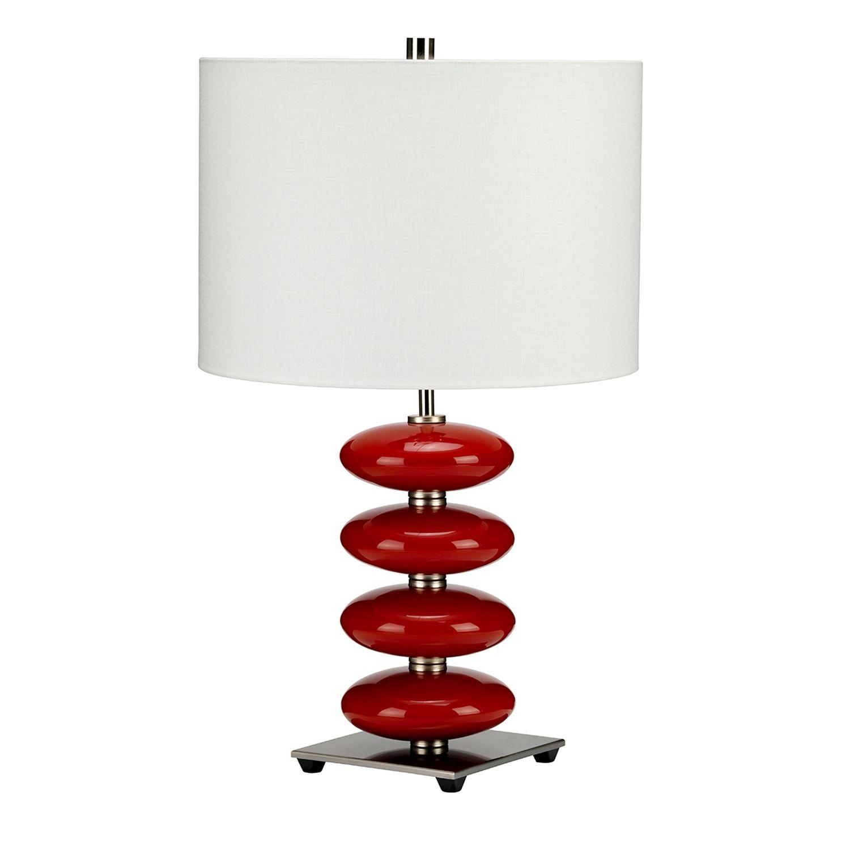 Tischlampe LAZI Creme Rot H:60cm Ø36cm Bodenlampe