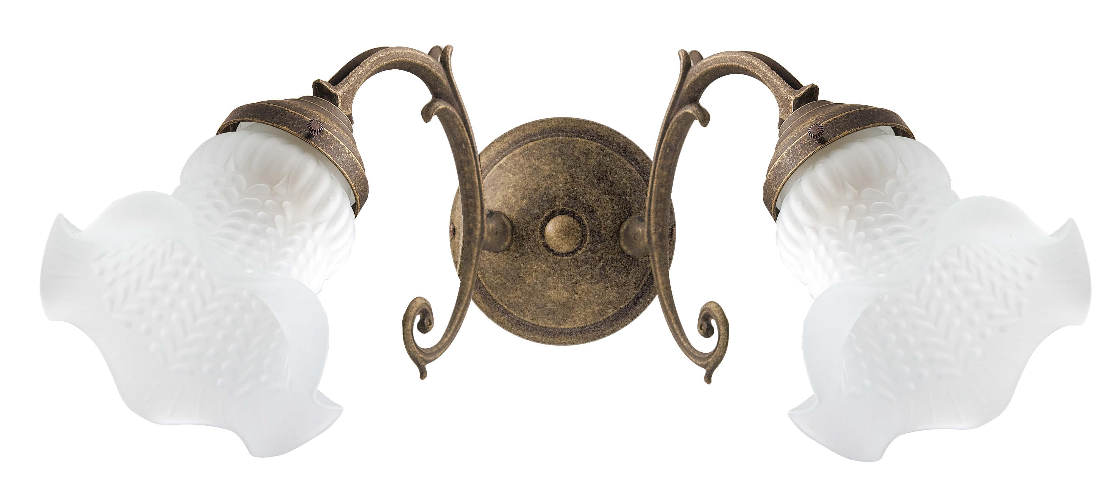Wandleuchte Weiß Glasschirm Echt-Messing Ricciolo