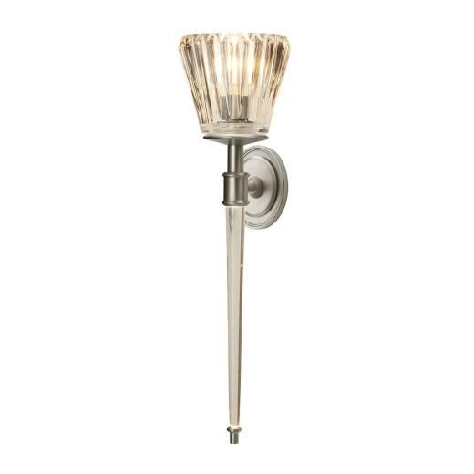 Badezimmer Lampe LED Riffelglas IP44 in Nickel