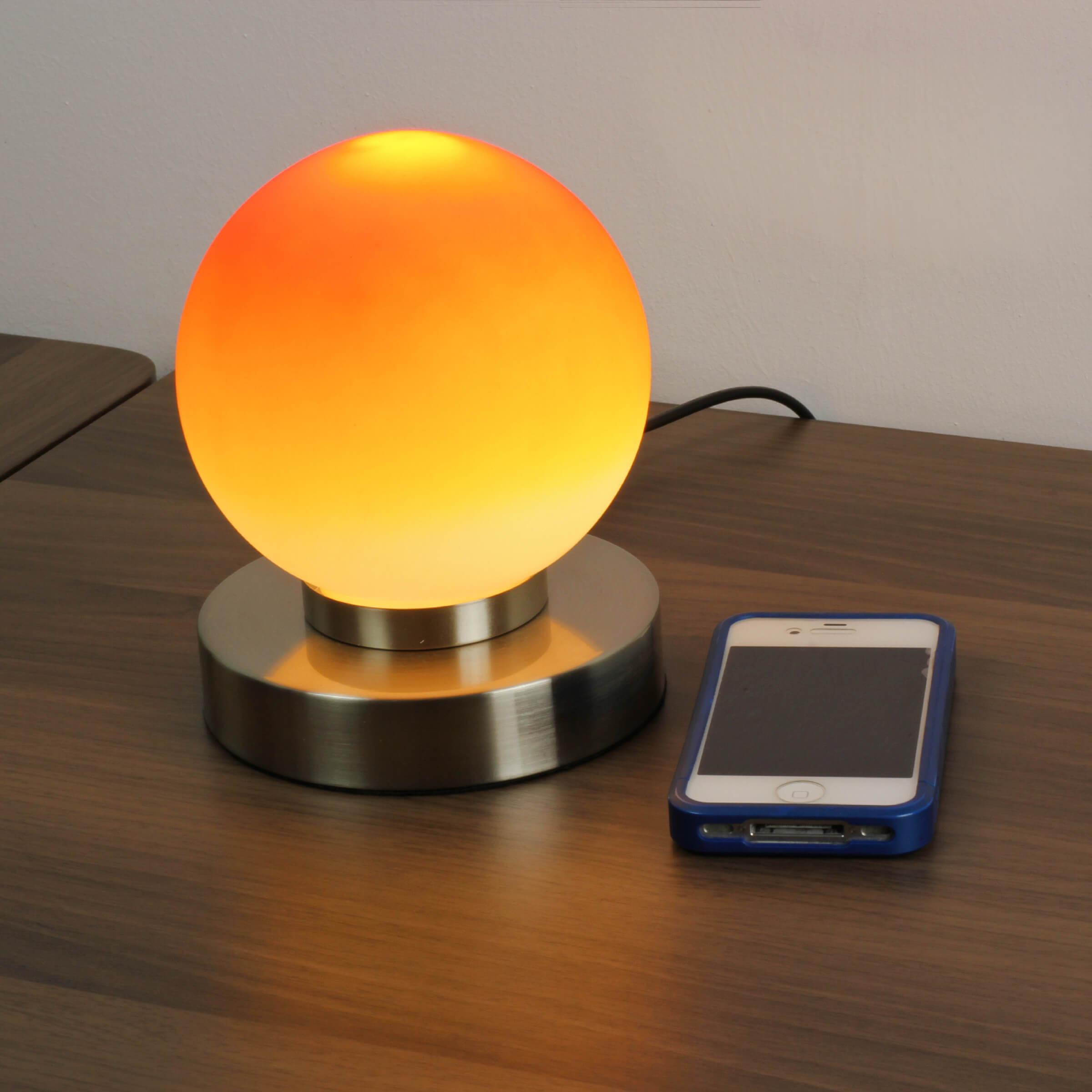 Moderne runde Touch Tischleuchte E14 PRINZ Touch Orange