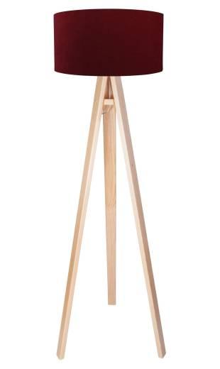 Dreibein Stehlampe Holz 140cm Bordeaux Retro Wohnzimmer