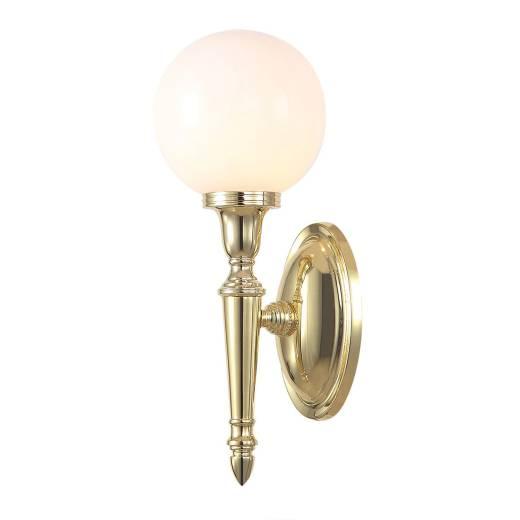 Badlampe aus Messing Glas mit LED IP44 Jugendstil