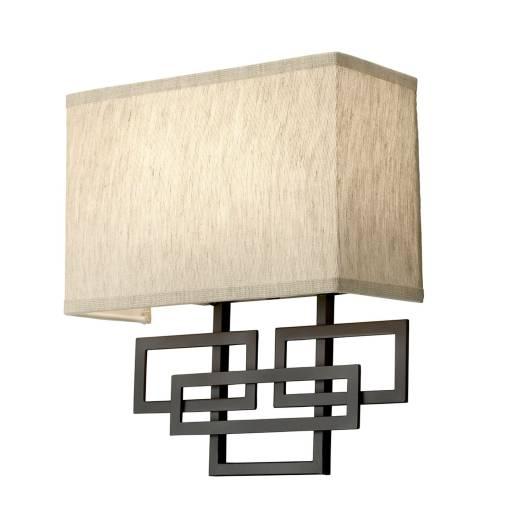 Wandlampe CHINO Creme Bronze eckig Design Lampe