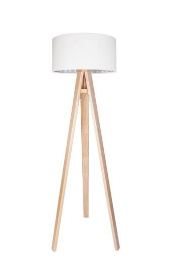 Stehlampe Holz Weiß Grau 140cm Retro Wohnzimmer
