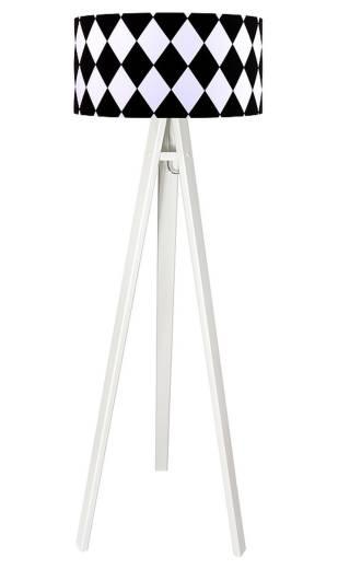 Dreibein Stehlampe Weiß Schwarz Retro rund 140cm