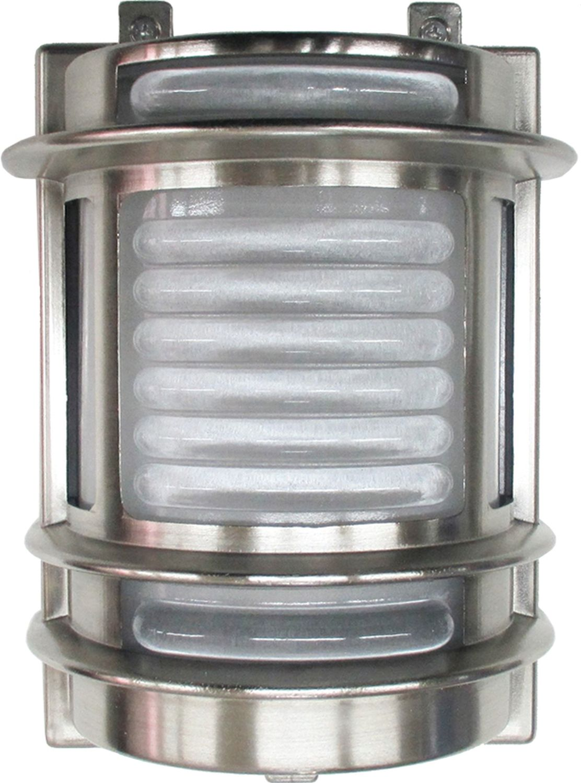 Wandlampe Außen Glas Messing in Nickel Maritim IP64
