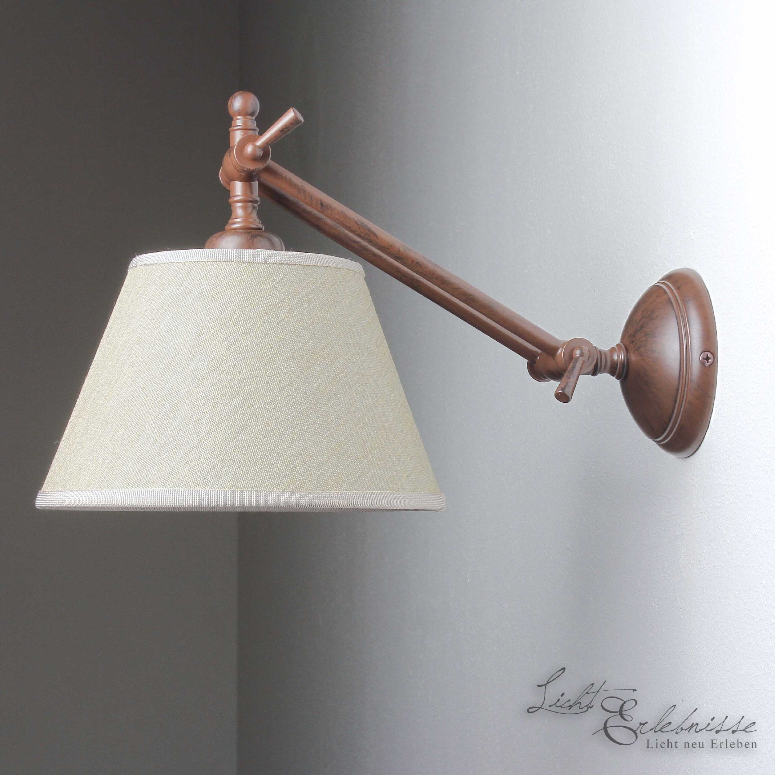 Wandlampe Echt-Messing Braun Schirm Beige Snodo