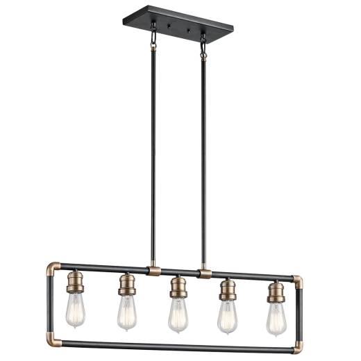 DREVO Deckenleuchte Schwarz 5xE27 kürzbar Lampe