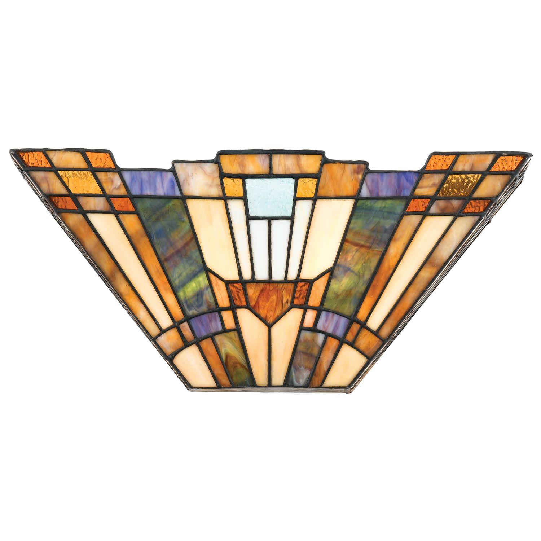 Tiffany Wandlampe Bronze Buntglas Wohnzimmer Flur